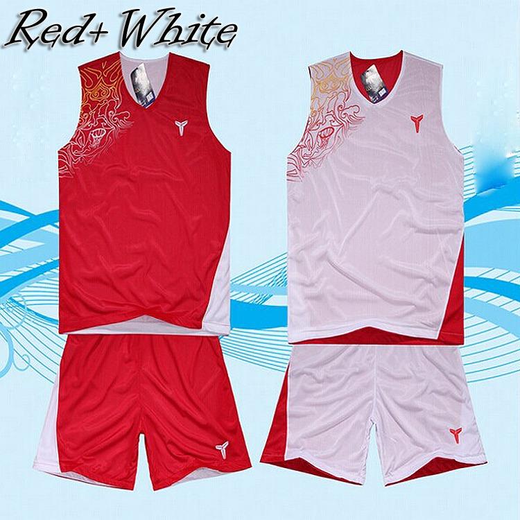 Fashion Men Reversible Basketball Jersey Training Suit Sport clothing set team uniforms tank top shorts Asia/Tag Size XL-5XL(China (Mainland))