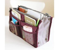 Promotion 14 Colors Lady's Black organizer bag multi functional cosmetic storage bags women bag insert with pockets