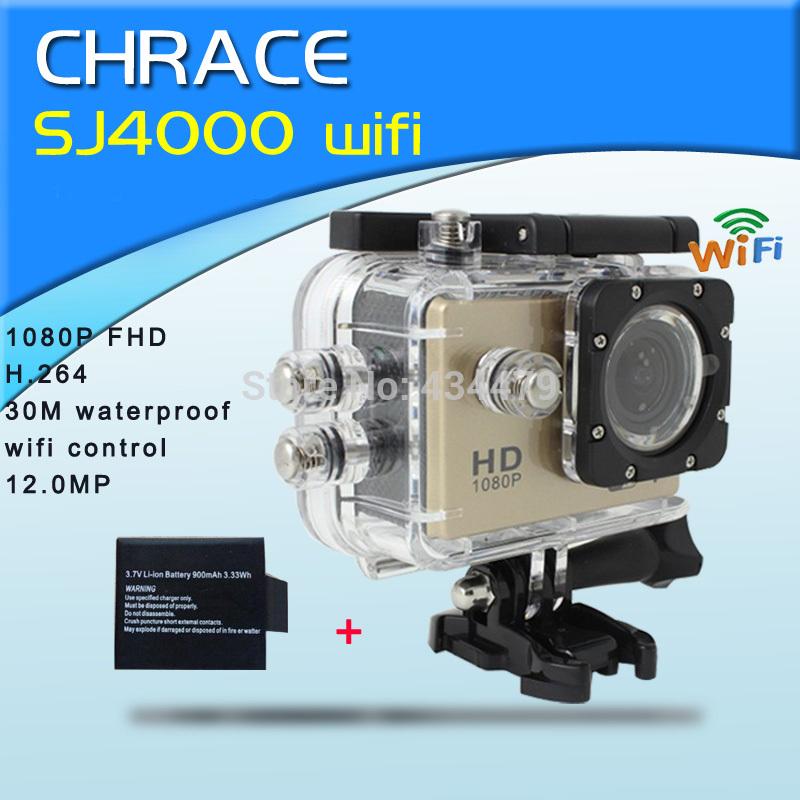 Original WIFI SJ4000 Action Camera gopro hero3 style 1080P FHD Helmet Mini Camcorders waterproof Sport camera +Extra Battery(China (Mainland))