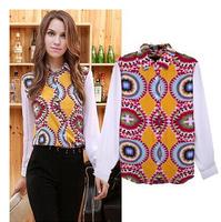 [B-1501]  Free shipping 2014 women chiffon blusas kaleidoscope mosaic printing single-breasted long-sleeved chiffon shirt
