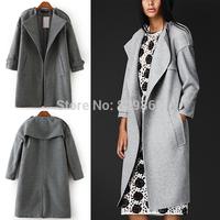 2014 New Trendy Women Winter Epaulet Cloak Wool & Blends Loose Jacket Coat Outerwear Tops