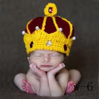 New 2014 Newborn Photography Props Baby Boy Girl Handmade Crochet Wool Beanies Hats Caps King Crown Baby Crystal Pearls Costume