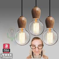 wholesale 2014 new wood pendant lamp give e27 Vintage edison bulb  long-life incandescence bulb diy shaping