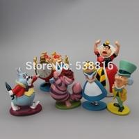 Anime Cartoon Alice in Wonderland PVC Action Figure Toys Dolls 6-9CM 6pcs/set Free Shipping