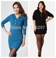 2014 new arriving big size women dress long sleeves V neck slimming spring autumn plus size female dress XXXL XXXXL BUST120