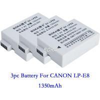 Free shipping 3PC 7.4V 1350mAh LP-E8 rechargeable Battery LP E8 LPE8 Camera batteries for Canon EOS 550D 600D 650D 700D