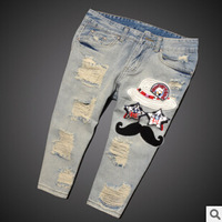 Hot Brand 2014 Loose Hole Pants Jeans Female Cotton  Jeans Embroidery Hole  Jeans Patter Bleached  Jeans Fashion Capris