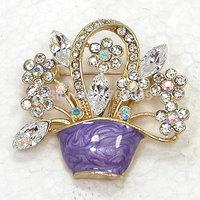 Wholesale 12piece/lot Clear AB Rhinestone Bridal Bridesmaid wedding party brooches Enamel Flower basket crystal Pin Brooch C2305
