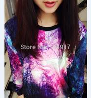 2014 new harajuku sweatshirt Star tie-dye galaxy Korean Preppy style loose Pullovers gradient sweatshirts for women tracksuits