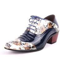 14 fashion shoes japanned leather personalized leather shoes pointed toe print vintage high-heeled shoes