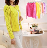 2014 Autumn New Arrival Women's Fashion Cutout Candy Color Long-sleeve Loose Cotton Cardigan Sweater