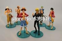 Classic style 6pcs Japana anime pvc one piece Luffy Franky Zero action figure toys tall 15cm set.Free shipping 6pcs/set