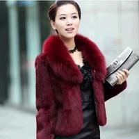 Winter Fashion Medium Long Wowem's Faux Fur Fox Fur Coat 3Colors Wine Red/ Black/ White