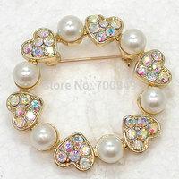 Wholesale 12piece/lot Aurora Borealis Rhinestone wedding party brooches Faux pearl heart crystal Pin Brooch C2316