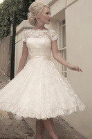 Free shipping 2014 New Arrivel  Ivory Lace Appliques Scoop Cap Sleeves Sash Tea Length Ball Gown Backless Wedding Dresses