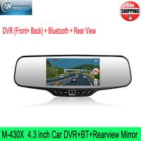 M-430X Car DVR+BT+Rearview Mirror Car Recorder 4.3''HD Digital Panel Dual Lens Built-in G-sensor Support bluetooth hands-free