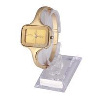 Exquisite Gold Square Dial Women Alloy Quartz Analog Bracelet Watch #gib