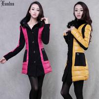 Lanluu 5 Colors 3 Size Optional 2014 New Winter Down Cotton Coat Fur Collar Women Long Parkas SQ813