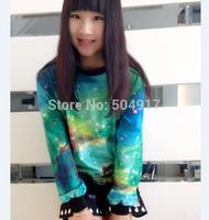 2014 harajuku sweatshirt Korean style 3D loose Pullovers Star tie-dye galaxy gradient sweatshirts for women baseball sportswear