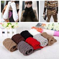 New Arrival Fashion Winter Mitten Warm Unisex Men Women Arm Warmer Fingerless Knitted Long Gloves Retail Wholesale