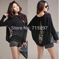 2014 new arriving big size women t shirt batwing long sleeve plus size female spring autumn chiffon cotton patchwork tshirt4XL