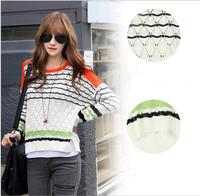 2014 Autumn Women's Fashion Colourful Stripe Cutout Thin Long-sleeve Loose Pullover Sweater