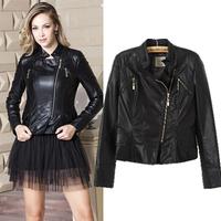 [B-1407] Free shipping 2014 Winter hot new Women pu jacket za Sexy Slim zipper golden collar motorcycle leather