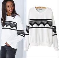 [B-1386] Free shipping 2014 women brand sweatshirt geometric print sweater casual long-sleeved sweater Fleece