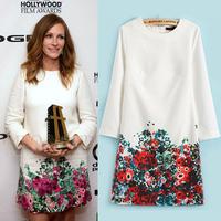 [B-1281]  Free shipping 2014 summer new flower dress  nine points sleeve chiffon print dresses