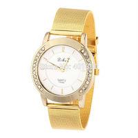 2014 New Fashion Women's Golden Watches Ladies Mesh Full Steel Casual Watches Women Clocks