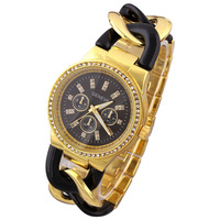 2014 New Fashion watches Crystal Hours Geneva Casual Watches bond Analog gold dial Quartz Watch 6colors ladies wristwatch