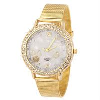 2014 Ladies Quartz Watches Full Steel Women Dress Analog Wristwatches Rhinestone Golden Casual Watch Hours