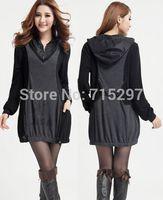 2015Free shipping women dress spring autumn plus size long sleeves hooded one-piece dress slimming elegant female dress 3XLQ266