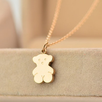New Hot Smooth Bear necklace 14k rose gold color gold short chain necklace Wholesale