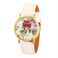 New Arrival PU Leather GENEVA Women Dress Watch Flower Watch Rose Ladies Casual Watches 2014