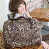 Women's canvas handbag  braccialini bag 2014 bags portable color block all-match vintage rivet bag female