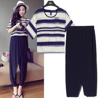 2014 summer European style large size women sets  fat woman yarn striped T shirt + chiffon Ninth pants suit Plus size XL-5XL