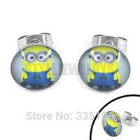 Free Shipping! Enamel Despicable Me Earring Lovely Minions Earring Stud Stainless Steel Jewelry Motor Biker Earrings SJE370096