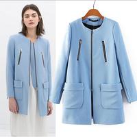 [B-1342]  Free shipping 2014 winter New women's coat pocket round neck long-sleeved blue windbreaker multi zipper two