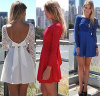 S-XL Big Promotion Autumn Europe and America Women's lace dress Ladies chiffon Heart Casual dresses white plus size dress LQ8018