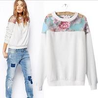 2014 European Style Brand Floral Print  Pullover Women Cotton Coat Sweatskirt O-Neck All-match Spring Fall Winter CL1962