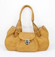"H026,orange soft PU women leather handbags,Size:15.5 x 6 x 7.75""(L*W*H)PU + Accessories,Free shipping"