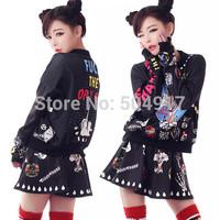 2014 fall new harajuku Punk sweatshirt print skull letter Monroe sweatshirts loose oversized Pullovers sports suits for women