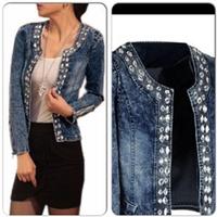 A4780 Fashion Female Slim Women's Denim Jackets Elastic Rhinestone Paillette Patchwork Outerwear Blazer Short Design Jeans Coat