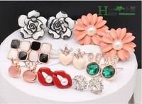 Stylish Vintage Daisy flower rose peach heart crown simulated gemstone geometric lips earrings women New MIX ORDER 24pair/lot
