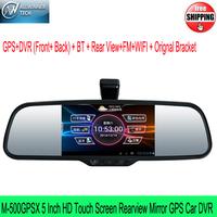 M-500GPSX GPS Car DVR/ BT /Rear View Support Wifi/FM Car Recorder 5 Inch HD Touch Screen Rearview Mirror Allwinner chip