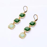 Min $10 - Pendientes Jewelry Elegant Green Square Pendant Drop Earrings Fashion New 2014 Brincos For Women