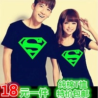 Superman T Shirt Lovers clothes Women's Men's Luminous casual O neck short sleeve t-shirts for couples S-XXXL Cotton tees