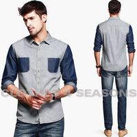Fashion splicing denim shirt / Men's cowboy shirts country rough style