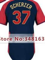 #37 Max Scherzer Jersey Black,Size M-XXXL,Free Shipping,2014 All-Star Baseball Jersey,Men's Authentic  Jersey,Mix Order